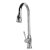 """Alfi brand Traditional Solid Polished Stainless Steel Pull Down Kitchen Faucet, 19-1/8"""" H"""