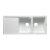 "Alfi brand White 46"" Double Bowl Granite Composite Kitchen Sink with Drainboard, 45-3/4"" W x 19-3/4"" D x 9-1/16"" H"