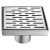 """Alfi brand 5"""" x 5"""" Modern Square Stainless Steel Shower Drain with Groove Holes, 5-1/4"""" W x 5-1/4"""" D x 3-1/4"""" H"""