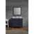 """Ariel Cambridge Collection 37"""" Single Rectangle Sink Vanity Set w/ Left Offset Sink and Matching Mirror in Midnight Blue"""