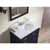 """Ariel Cambridge Collection 37"""" Single Oval Sink Vanity Set w/ Right Offset Sink and Matching Mirror in Midnight Blue"""