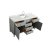 """61"""" Grey Rectangle Sink Opened View"""