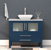 """Cambridge Plumbing 36"""" W Solid Wood Single Vanity in Blue, Pristine White Porcelain Countertop with White Porcelain Vessel Sink, Polished Chrome Faucet"""