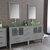 Cambridge Plumbing 63'' Vanity Set Gray, Glass Top, Brushed Nickel Faucets