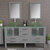 Cambridge Plumbing 63'' Gray, Glass Top, Brushed Nickel Faucets Front View