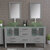 Cambridge Plumbing 63'' Gray, Glass Top, Polished Chrome Faucets Front View