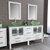 Cambridge Plumbing 63'' Vanity Set White, Glass Top, Brushed Nickel Faucets