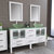 Cambridge Plumbing 63'' Vanity Set White, Glass Top, Polished Chrome Faucets