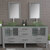 Cambridge Plumbing 71'' Gray, Glass Top, Brushed Nickel Faucets Front View