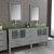 Cambridge Plumbing 71'' Vanity Set Gray, Glass Top, Brushed Nickel Faucets