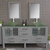 Cambridge Plumbing 71'' Gray, Glass Top, Polished Chrome Faucets Front View