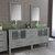 Cambridge Plumbing 71'' Vanity Set Gray, Glass Top, Polished Chrome Faucets