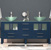 """Cambridge Plumbing 71"""" W Solid Wood Double Vanity in Blue, Tempered Glass Countertop with (2) Round Glass Bowl Vessel Sinks, (2) Polished Chrome Faucets"""