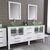 Cambridge Plumbing 71'' Vanity Set White, Glass Top, Brushed Nickel Faucets