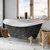 """Cambridge Plumbing 69"""" Acrylic Double Slipper Clawfoot Bathtub with no Faucet Holes, Scorched Platinum Exterior Finish and Brushed Nickel Feet"""
