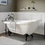Cambridge Plumbing White Acrylic Slipper Clawfoot Bathtub without Faucet Holes and Complete Oil Rubbed Bronze Plumbing Package, British Telephone Style Faucet with Hand Held Shower