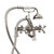 """Cambridge Plumbing Clawfoot Tub Deck Mount British Telephone Faucet with Hand Held Shower and 2"""" Risers, Brushed Nickel, 13""""W x 12""""D x 9""""H"""