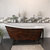 """Cambridge Plumbing 62"""" or 67"""" Cast Iron Slipper Clawfoot Bathtub with 7"""" Deck Mount Faucet Drillings, Faux Copper Bronze Exterior Finish and Oil Rubbed Bronze Feet"""