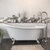 """Cambridge Plumbing 67"""" White Cast-Iron Slipper Clawfoot Bathtub without Faucet Holes and Complete Brushed Nickel Plumbing Package, Modern Freestanding Gooseneck Faucet with Shower Wand"""