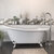 """Cambridge Plumbing 67"""" White Cast-Iron Slipper Clawfoot Bathtub without Faucet Holes and Complete Polished Chrome Plumbing Package, Modern Freestanding Gooseneck Faucet with Shower Wand"""