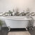 """Cambridge Plumbing 67"""" White Cast-Iron Slipper Clawfoot Bathtub without Faucet Holes and Complete Brushed Nickel Plumbing Package, Freestanding British Telephone Faucet with Hand Held Shower"""