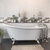 """Cambridge Plumbing 67"""" White Cast-Iron Slipper Clawfoot Bathtub without Faucet Holes and Complete Polished Chrome Plumbing Package, Freestanding British Telephone Faucet with Hand Held Shower"""