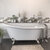 """Cambridge Plumbing 67"""" White Cast Iron Slipper Clawfoot Bathtub without Faucet Holes and Complete Brushed Nickel Plumbing Package, Freestanding English Telephone Gooseneck Faucet with Hand Held Shower"""