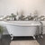 """Cambridge Plumbing 67"""" White Cast Iron Slipper Clawfoot Bathtub without Faucet Holes and Complete Polished Chrome Plumbing Package, Freestanding English Telephone Gooseneck Faucet with Hand Held Shower"""