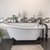 """Cambridge Plumbing 67"""" White Cast Iron Slipper Clawfoot Bathtub without Faucet Holes and Complete Oil Rubbed Bronze Plumbing Package, Freestanding English Telephone Gooseneck Faucet with Hand Held Shower"""