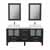 """Cambridge Plumbing 63"""" Solid Wood Double Vanity Set in Espresso, White Porcelain Countertop with (2) White Porcelain Rectangle Vessel Sinks, (2) Brushed Nickel Faucets and (2) Wood Trimmed Mirrors Included"""