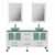 "Cambridge Plumbing 63"" Solid Wood Double Vanity Set in White, Frosted Glass Countertop with (2) Glass Bowl Vessel Sinks, (2) Brushed Nickel Faucets and (2) Wood Trimmed Mirrors Included"