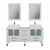 """Cambridge Plumbing 63"""" Solid Wood Double Vanity Set in White, White Porcelain Countertop with (2) White Porcelain Rectangle Vessel Sinks, (2) Brushed Nickel Faucets and (2) Wood Trimmed Mirrors Included"""