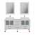 """Cambridge Plumbing 63"""" Solid Wood Double Vanity Set in White, White Porcelain Countertop with (2) White Porcelain Rectangle Vessel Sinks, (2) Polished Chrome Faucets and (2) Wood Trimmed Mirrors Included"""