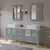 """Cambridge Plumbing 71"""" Solid Wood Double Vanity Set in Gray, White Porcelain Countertop with (2) White Porcelain Vessel Sinks, (2) Brushed Nickel Faucets and (2) Wood Trimmed Mirrors Included"""