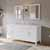 """Cambridge Plumbing 72"""" Solid Wood Double Vanity Set in White, White Porcelain Countertop with (2) Basin Sinks and (2) Wood Trimmed Mirrors Included"""