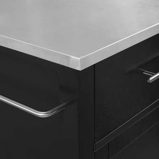 Stainless Steel Top Black Base Closeup View 5