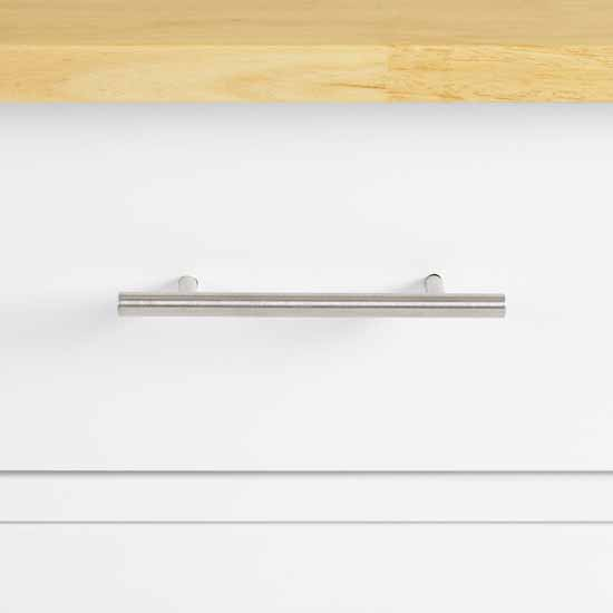 Wooden Top White Base Closeup View 1