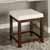 Crosley Furniture Vista Vanity Stool, Mahogany With White Vinyl Finish, 15-3/4''W x 17-1/2''D x 19-1/4''H
