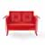 Crosley Furniture Bates Collection Outdoor Loveseat Glider in Red, 48-3/4''W x 28''D x 32-1/2''H