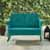 Crosley Furniture Bates Collection Outdoor Metal Loveseat Glider in Turquoise, 48-3/4''W x 28''D x 32-1/2''H