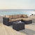 Set in Mocha, Loveseat, Corner Chair, Ottoman, Coffee table, Lifestyle View