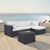 Set in White, Loveseat, Corner Chair, Ottoman, Coffee table, Lifestyle View