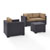 Set in Mocha, 2 Corner Chairs, 1 Arm Chair, 1 Coffee Table, View 2