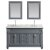 """Design Element Hudson 61"""" Double Sink Vanity Set in Gray with Carrara Marble Top and (2) Matching Wall Mirrors, 61"""" W x 22"""" D x 35"""" H"""