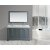 "Design Element Omega 61"" Double Sink Vanity Set with Wall Mirror in Gray and Carrera White Countertop, 61"" W x 22"" D x 36"" H"