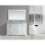 "Design Element Omega 61"" Double Sink Vanity Set with Wall Mirror in White and Carrera White Countertop, 61"" W x 22"" D x 36"" H"