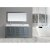 "Design Element Omega 72"" Double Sink Vanity Set with Wall Mirror in Gray and Carrera White Countertop, 72"" W x 22"" D x 36"" H"