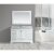 "Design Element Omega 54"" Single Sink Vanity Set with Wall Mirror in White and Carrera White Countertop, 54"" W x 22"" D x 36"" H"