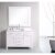 "Design Element London 48"" Single Sink Vanity Set with Wall Mirror in White and White Carrera Marble Countertop, 48"" W x 22"" D x 36"" H"