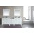 """Design Element London 92"""" Double Sink Vanity Set with Wall Mirror in White and White Carrera Marble Countertop, 92"""" W x 22"""" D x 36"""" H"""